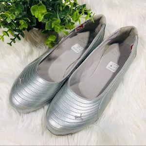 Puma Silver Zandy Ballet Flats Walking Shoes